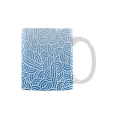 Ombre blue and white swirls doodles White Mug (11 OZ) by @savousepate on @artsadd