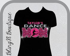 Dance Mom Chevron Custom Name Glitter and Bling Shirt, Dance Mom Shirts, Bling Dance Mom Shirts