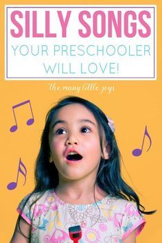 Silly songs your preschooler will love Music is a great way to help kids develop language, motor, and memory skills. Here are eight silly songs that your preschooler is sure to enjoy, and that will make you giggle right along with them. Preschool Songs, Preschool Learning, Toddler Preschool, Movement Songs For Preschool, Movement Activities, Preschool Circle Time Songs, Kindergarten Music Lessons, Transition Songs For Preschool, Music Activities For Kids