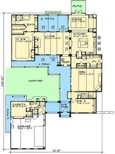 Casita and Courtyard Classic - 36812JG | 1st Floor Master Suite, Butler Walk-in Pantry, Courtyard, Den-Office-Library-Study, European, Luxury, Mediterranean, PDF, Photo Gallery, Premium Collection, Southwest, Spanish, Tuscan | Architectural Designs