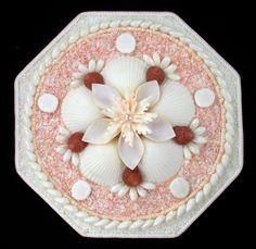 "Seashell Art SAILORS VALENTINE 8"" Octagon Shell Mosaic - White & Pink"