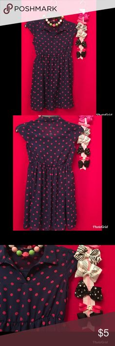 Girls navy & pink polka dot dress 7-8 w/ FREE bow! Super cute girl's dress. Tags cut. Buy and pick any of these bows (or necklace) for free! This fit my petite 10 yr old. Bundle w/ other items and I will send you a private discount! Dresses