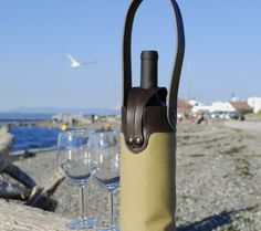 Single canvas and leather wine bottle tote, in khaki 18oz canvas and chocolate brown leather.