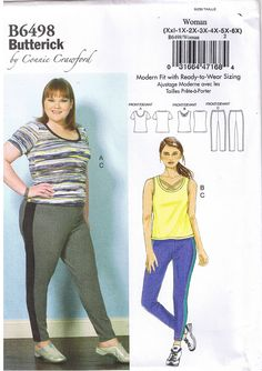 Plus Fitting Workout or Casual Wear that's in style and in your size. Butterick # 6498 Size XXL-6X Available for sale in my ebay store.