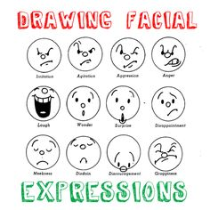 Learn how to draw cartoon emotions & facial expressions with the following drawing lesson and examples. You can change the expressions on your face without changing your emotions (by acting) but don't you wish that drawing facial expressions was just as easy? Well, with practice, you will see that it is just this easy and a LOT of fun to try.