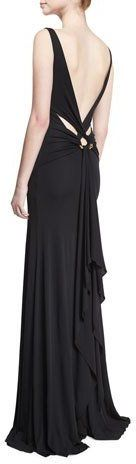 Roberto Cavalli Sleeveless Strappy-Back Mermaid Gown, Black