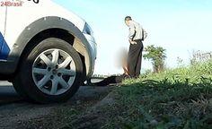 Homem nu é detido ao vagar pela Rodovia do Contorno, na Serra