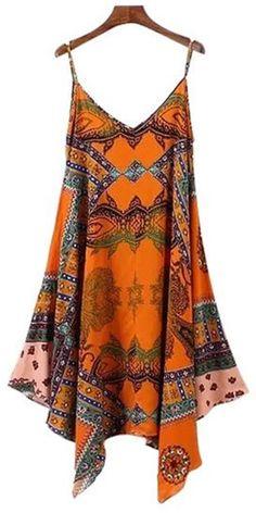 Love Love LOVE this Dress! Orange Rust Bohemian Style Color Block Abstract Print Handkerchief Dress #Bohemian #Style #Handkerchief #Dress
