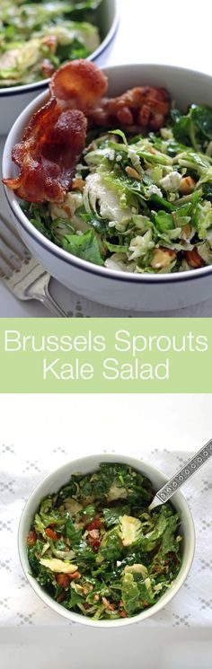 Brussels sprouts kale salad with bacon, almonds, blue cheese and a lemon garlic vinaigrette. Lunch is served! | honeyandbirch.com #gf