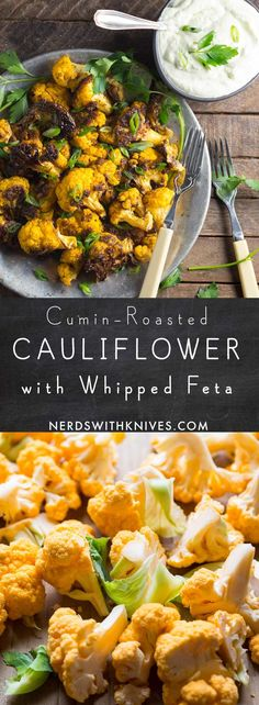 Roasted cauliflower flavored with cumin and served with a feta cream cheese dip. Healthy Salad Recipes, Veggie Recipes, Great Recipes, Vegetarian Recipes, Yummy Recipes, Veggie Meals, Snack Recipes, Cauliflower Side Dish, Roasted Cauliflower