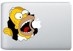 Homer Simpson Macbook Decal Chomps the Apple Logo