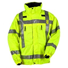 5.11 3-in-1 Reversible High-Visibility Parka jackets  When you need uncompromising protection against inclement weather, superior patrol utility, and reliable high visibility performance, the 3-in-1 Reversible High-Vis Parka has everything you need. The water, wind, and weather proof reversible rain shell offers standard patrol colors on one side and high visibility fluorescence on the other, and is augmented by genuine 3M Scotchlite reflective tape to provide ANSI III rated visibility...