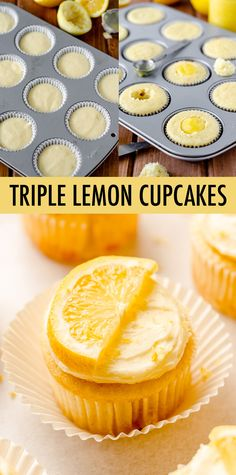 Tender lemon cupcakes filled with tangy homemade lemon curd and topped with a sweet, creamy lemon buttercream. A lemon lover's dream! Potluck Desserts, Lemon Dessert Recipes, Lemon Recipes, Frosting Recipes, Summer Desserts, Cupcake Recipes, Easy Desserts, Lemon Cupcakes, Lemon Cookies