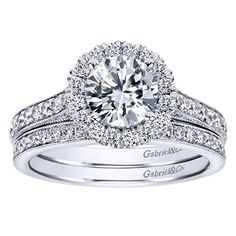 1.47cttw Round Halo Diamond Engagement Ring with Bead Set Side Diamonds