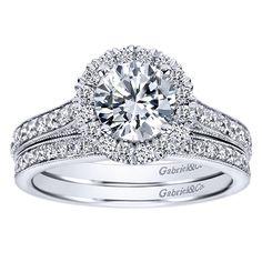 1.47cttw Round Halo Diamond Engagement Ring with Bead Set Side Diamonds