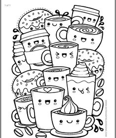 Kawaii Coffee free colouring page – Kate Hadfield Designs Cute Easy Drawings, Cute Kawaii Drawings, Cool Art Drawings, Art Drawings Sketches, Pencil Art Drawings, Easy Doodles Drawings, Drawing Ideas, Cute Doodle Art, Doodle Art Designs