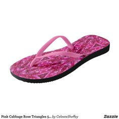 Pink Cabbage Rose Triangles 5072 Flip Flops