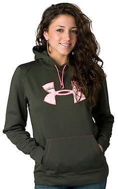 Under Armour Rifle Green Tackle Twill with Pink Camo Logo Long Sleeve Hoody $64.99