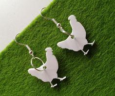 white perspex laser cut small hen earrings £4.95