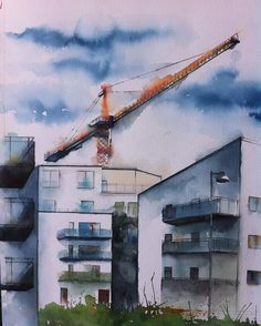 Nya Rosendal utanför Uppsala. New  residential area in my hometown. #vattenfärg #watercolor #akvarell #aquarelle #art #arte #suluboya #watercolorgallery #inspiring_watercolor #uppsala #myuppsala #rosendal #lyftkran #derrick #architecture #house #instaart #nordiskaakvarellmuséet #worldofartists #acuarela #urban #urbanart