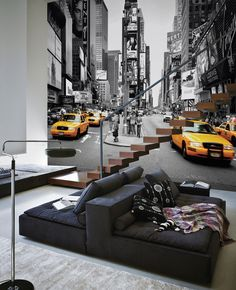 Times Square - Cabs Colorsplash - Wall mural, Wallpaper, Photowall, Home decor, Fototapet, Valokuvatapetit