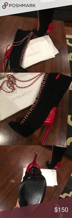 Nina Ricci Boots Black suede, zipper up inside of calf Nina Ricci Shoes Heeled Boots