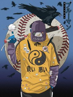 Image of Baseball player ⚾ (Burūman series) 🔵 Sports Drawings, Art Drawings, Manga Art, Anime Art, Samurai Wallpaper, Japon Illustration, Arte Cyberpunk, Graffiti Wallpaper, Samurai Art