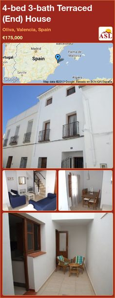 4-bed 3-bath Terraced (End) House in Oliva, Valencia, Spain ►€175,000 #PropertyForSaleInSpain
