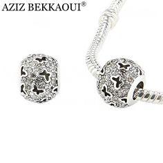 Original Kristall Schmetterling Charme Zubehör Silber Überzog Funkelnden Runde Klar CZ Diamant Perlen Fit Pandora Armband Halskette