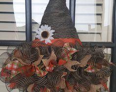 Witches Hat Wreath, Deco Mesh Wreath, Fall Wreath, Halloween Wreath, Witch Hat Door Hanger, Witch Hat Decor