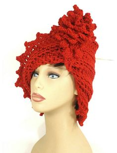 Crochet Cloche Hat 1920s Womens Crochet Hat Womens Hat Trendy Red Hat LAUREN 1920s Cloche Hat Crochet Flower  Russian Hat by strawberrycouture by #strawberrycouture on #Etsy