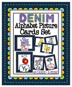 These Alphabet Cards are perfect for a denim themed classroom. This set includes 2 sets of 26 alphabet cards. There are two different orientations – horizontal and portrait.  They both feature colorful pictures with the matching capital and lowercase letters. #tpt#alphabet#flashcards#teacherspayteachers