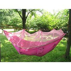 Double Hammock Cici Store Tree 2 People Person Patio Bed Swing Outdoor with Mosquito Net Pink *** Want to know more, click on the image.