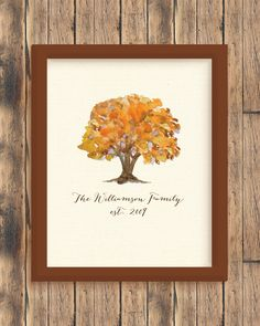 Personalized Fall Tree Print #housewarming #weddinggift #wallart #homedecor #style #designlove #interiorstyling #artwork #interiordecoration #interiordecor #interiordesign #gallerywall #print #personalized #watercolor #personalizedart