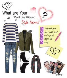 """What are Your """"Can't Live Without"""" Style Items? by cmrno on Polyvore featuring polyvore, fashion, style, M.i.h Jeans, LE3NO, Hollister Co., Charles David, Topshop, Kate Spade, Post-It and clothing"""