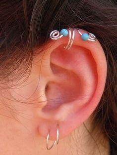 Ear cuff Blue sky Hand wire wrapped silver ear cuff