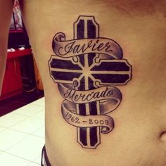 Cool Memorial Cross Tattoo for Men