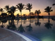 Beautiful evening by the pool at Pueblo Bonito Emerald Bay resort, Mazatlan.