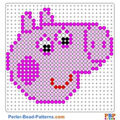 Peppa Pig perler bead pattern. Download a great collection of free PDF templates for your perler beads at perler-bead-patterns.com