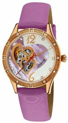 Stuhrling Original Women's 196A.124Q4 Vogue Harmony Automatic Skeleton Swarovski Crystals Mother-Of-Pearl Purple Watch Stuhrling Original. Save 71 Off!. $179.00. Beaded bezel with swarovski crystal studs and protective krysterna crystal on front and back. Purple satin twill covered genuine leather strap and rosetone buckle with heart shaped décor. Water-resistant to 50 m (165 feet). Hydraulically pressed sunray pattern on dial with custom cut purple mother-of-pearl inlay and double heart…