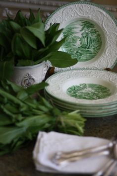 English Wedgwood ~ Patrician  ..with the herb sorrel