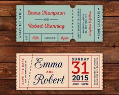 Retro wedding tickets download