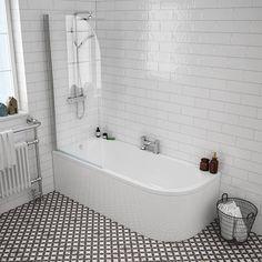 J-Shaped Shower Bath with Screen + Curved Panel) Standard Image Corner Bath Shower, Bath Shower Screens, Shower Over Bath, Bathroom Floor Tiles, Bathroom Renos, Bathroom Fixtures, 50s Bathroom, Bathroom Ideas, Bath Shower Combination