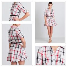 New Listing! Plaid Dress I just got this from shopruche web site and unable to return. So cute but does not fit me in the chest area. Read description above. Looks exactly like internet photos, I just took it out of package to try on once. Belt included. Shop Ruche Dresses Mini