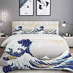 marque Douceur /& Tradition Parure de lit 4 pi/èces Zen Lotus Bleu 100/% Coton 57 Fils