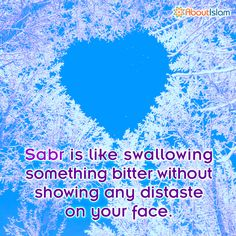 Sabr is like swallowing something bitter but without showing any distaste on your face. #patience #Islam