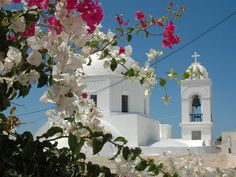 Flowered church bells in Santorini!