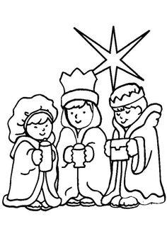 Des rois mages tous mignons portant les cadeaux pour Jésus, coloriage pour enfants