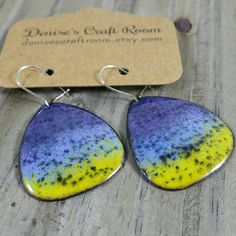 Purple Blue and Yellow Enamel Earrings Copper by DenisesCraftRoom