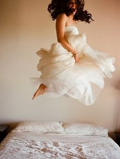 Wedding dress bed jumping!